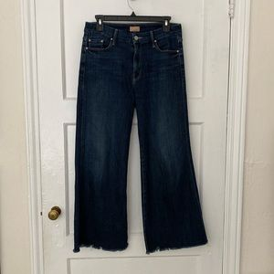 MOTHER the roller ankle fray wide leg jeans 28